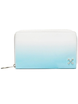 Off-white - Light Blue Gradient Zip Around Wallet Clutch - Women
