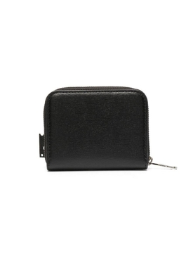 Black and white zip-around wallet