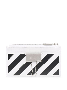 Binder Card Case with Pocket White and Black