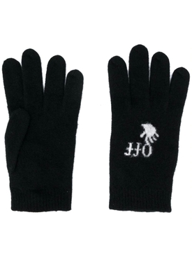 Black felt wool short gloves