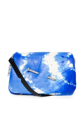 NAILED SLOUCHY CLUTCH Blue and Beige