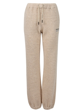 embroidered-logo shearling track pants beige