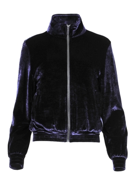 Navy Velour Track Jacket
