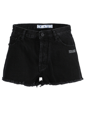 Black logo denim shorts