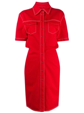 Red Denim Buttoned Dress