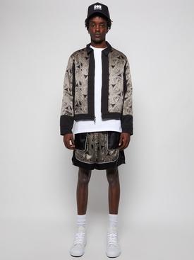 Silk Paisley Print Jacket Black and Beige