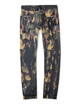Washed Camo Drip Jeans Black