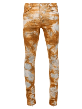 Tie-dye print slim fit jeans indigo dune