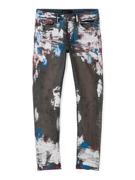 Heavy Crackle Tricolor Jeans Indigo