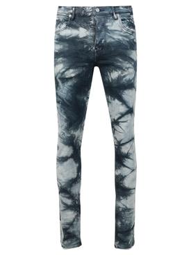 Slim-fit tie-dye denim jeans indigo blue