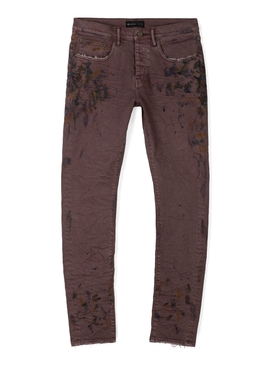 DISTRESSED OIL SPILL JEANS OVERDYED SEPIA BROWN