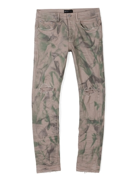 Distressed Camo Jean Sand Beige and Forest Green