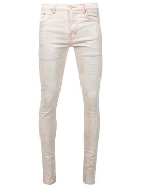Slim-fit Denim Jeans White and Neon Orange