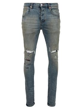 Distressed denim jeans indigo flannel