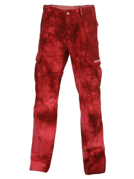 Red tie-dye cargo pants