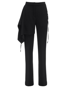 Black Draped Satin Pants