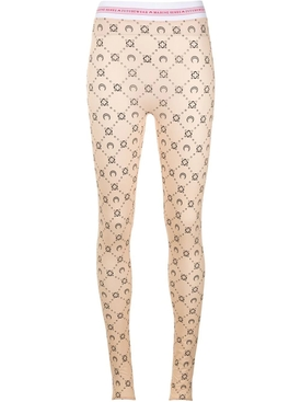 Neutral Moon Print Logo Waistband Leggings