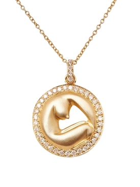 14K Gold Olympe de Gouges Diamond Necklace