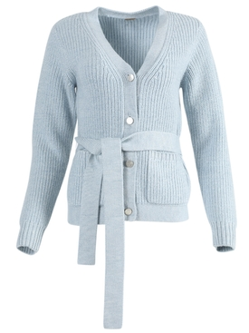 Blue slouchy wool cardigan