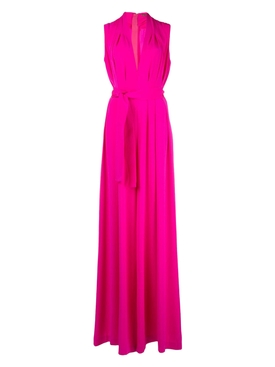 Silk Hot Pink Belted Jumpsuit
