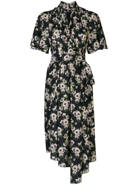 Floral Asymmetric Mid-Length Dress