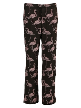 Brown and pink flamingo print pants