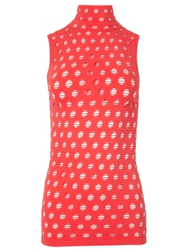 KNITTED PERFORATED SLEEVELESS TURTLENECK CORAL