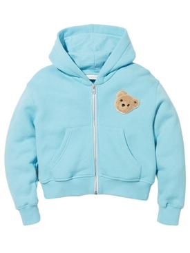 Kids Bear Zip Up Hoodie Light Blue