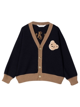 KID'S BEAR CARDIGAN NAVY BLUE AND BROWN