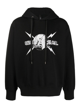 Universal logo hoodie BLACK WHITE
