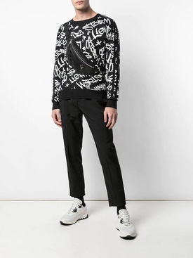 Black and White Graffiti Knit Sweater