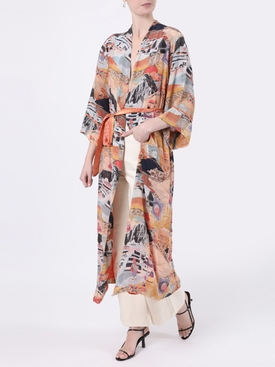 Multicolored moray long  robe