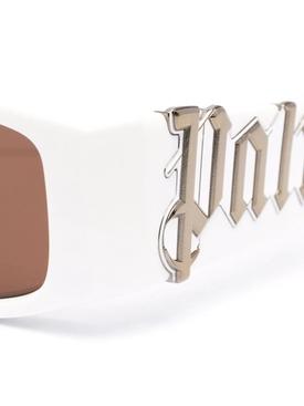 Rectangular Logo Plaque Sunglasses White and Brown