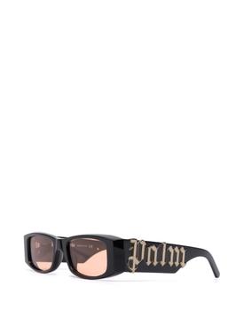 Rectangular Logo Plaque Sunglasses Black and Orange