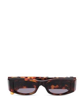 Rectangular Logo Plaque Sunglasses Brown