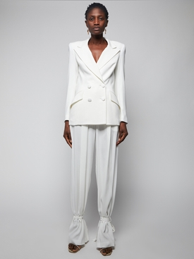 White Slit Hem Trousers