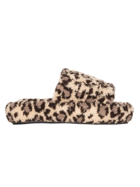 Leopard print volume slippers