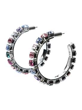 Multicolored embellished Medium hoop earrings