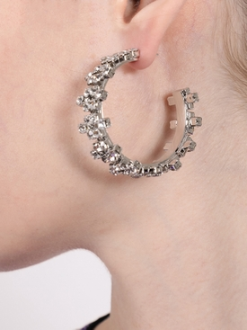 Medium Silver-tone embellished hoop earrings