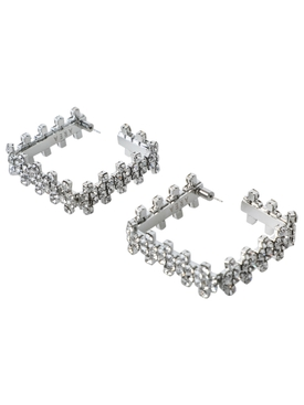 Silver-tone embellished square hoop earrings