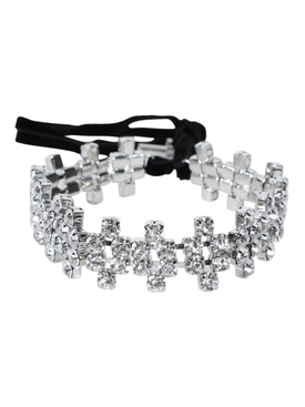 Embellished silver-tone crystal choker