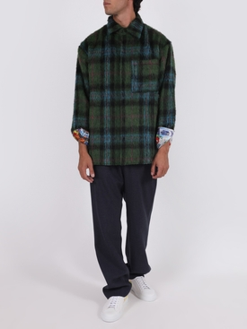 X NATASHA ZINKO Green and blue check-print shirt