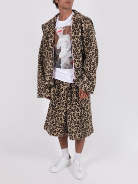 Leopard print fleece shorts