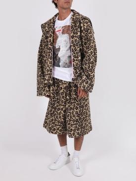Leopard print fleece shorts