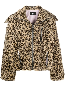 Leopard print fleece jacket