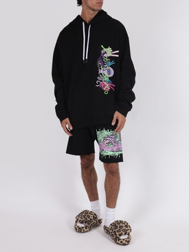 Black embroidered hoodie sweatshirt