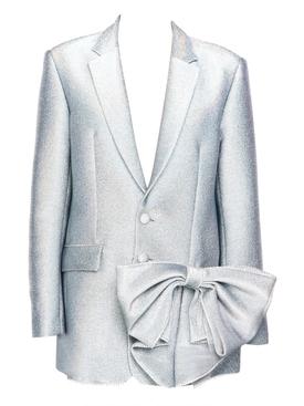Silver hologram Crystal bow blazer