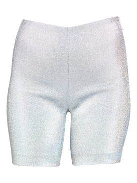 Silver hologram Lamé Bike Short