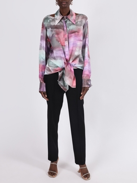 Pink cloud print silk tunic shirt dress