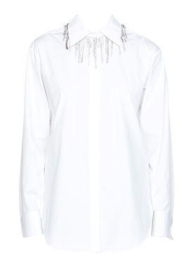 White crystal collar blouse